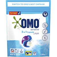 Omo Laundry Triple Capsules, 3 in 1 Capsule, Sensitive, 50 Pack