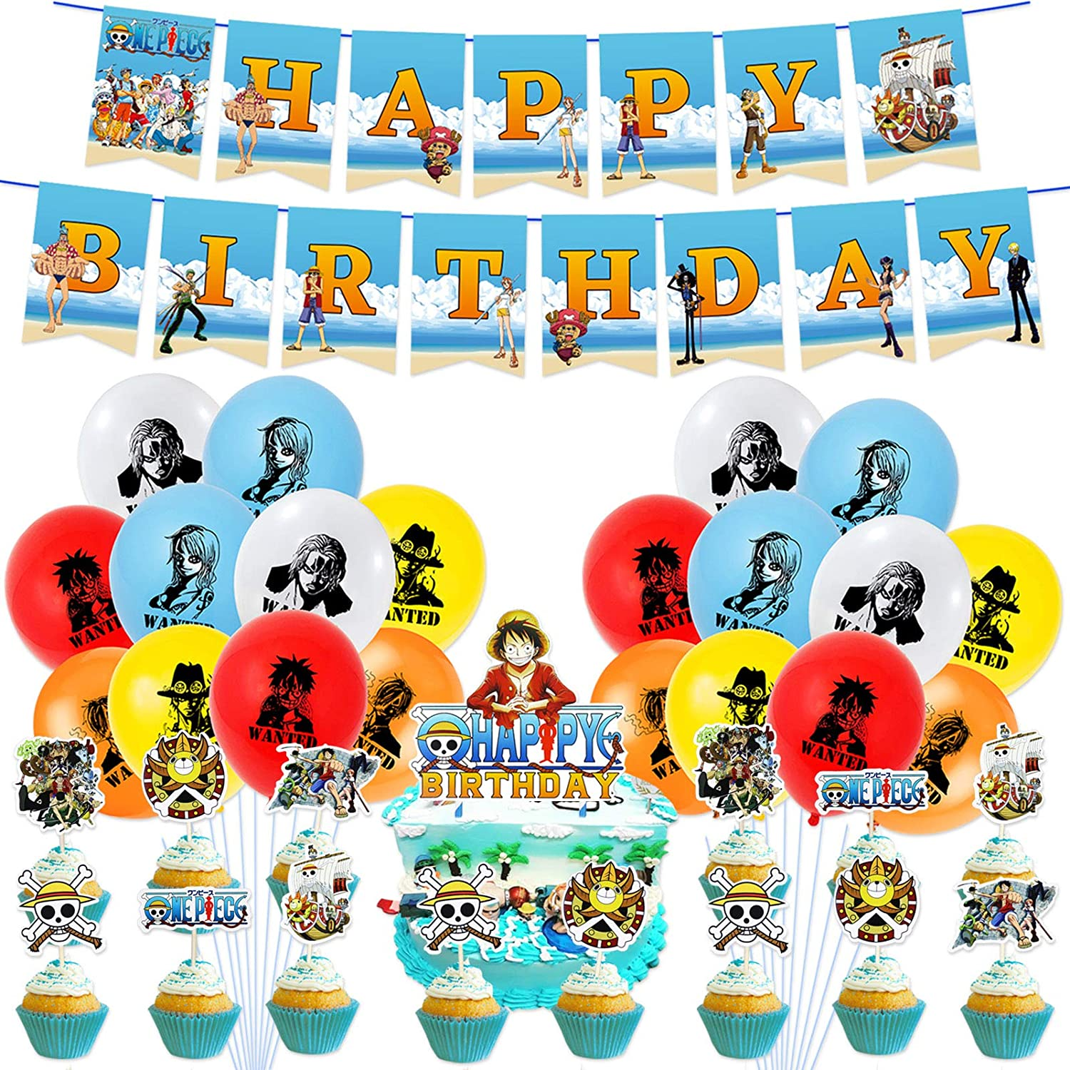 46pcs One Piece Birthday Party Decorations-Balloon Banner Cake Toppers Set Anime Party Supplies for Kids and Boys