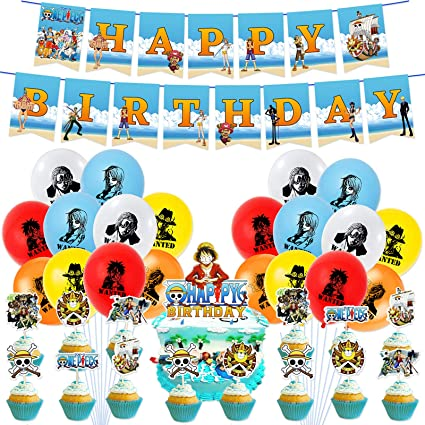 Amazon Com 46pcs One Piece Birthday Party Decorations Balloon Banner Cake Toppers Set Anime Party Supplies For Kids And Boys Toys Games