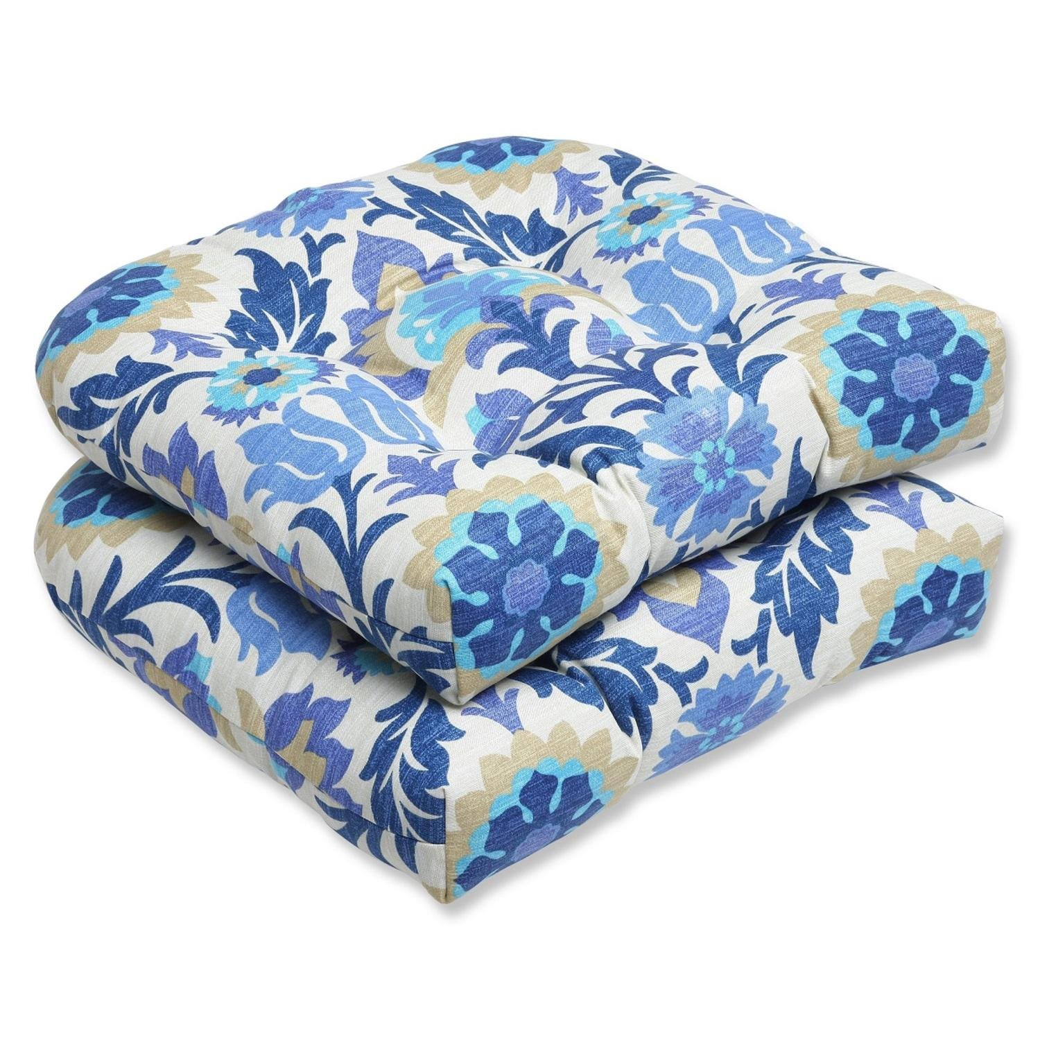 Set of 2 Dream Garden Blue, Light Taupe and Ivory Damask Outdoor Patio Wicker Chair Cushions 19''
