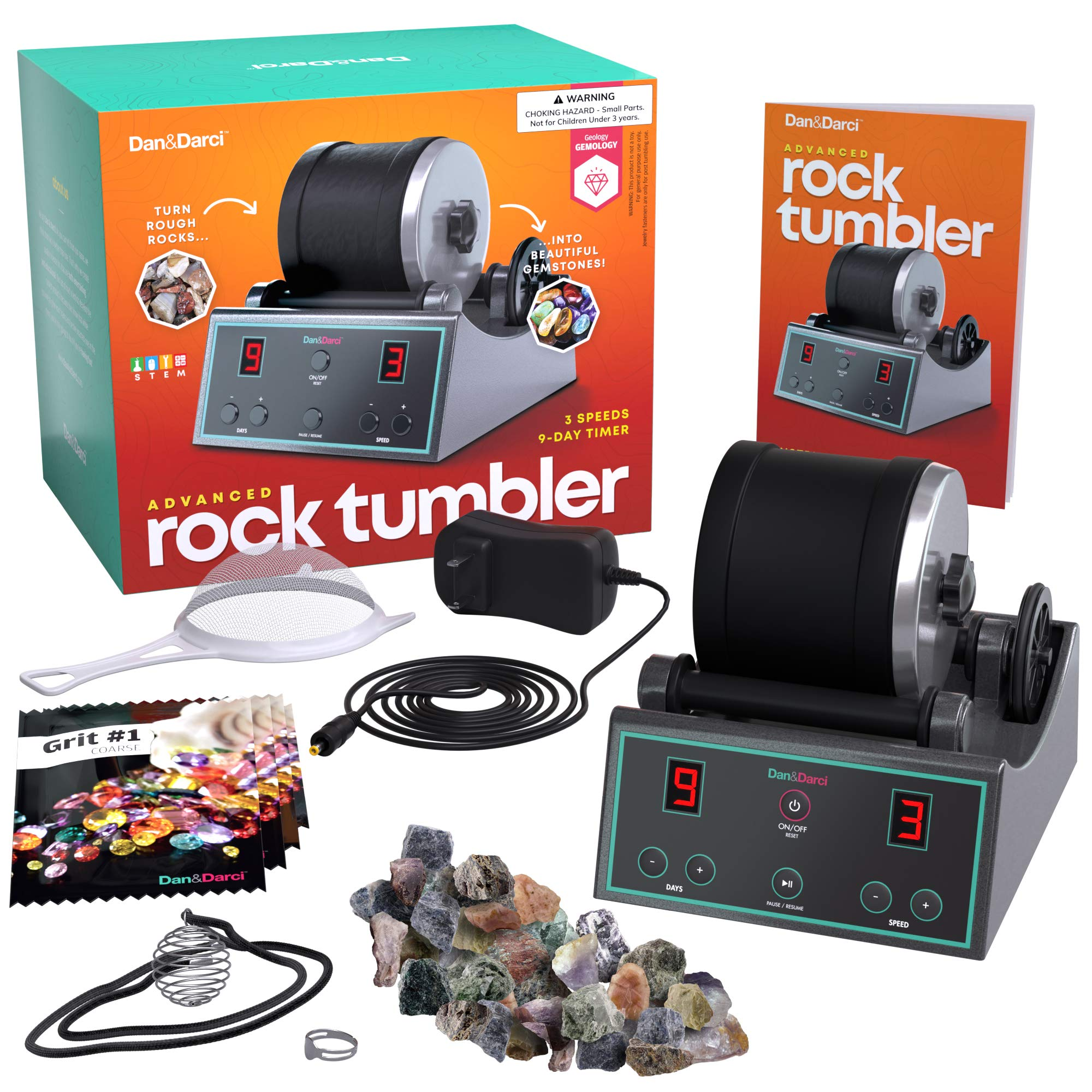 Advanced Professional Rock Tumbler Kit - with Digital 9-day timer & 3-speed polisher settings - Turn Rough Rocks into Beautiful Gems : Great Science Kit & STEM Gift for all ages : Geology & Mineralogy by Dan&Darci