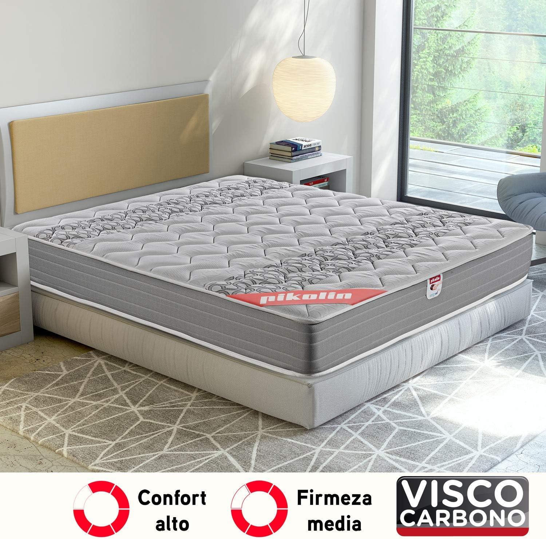 Pikolin Egeo - Colchón viscoelástico carbono de gama alta, máxima calidad y confort, firmeza media, altura 24 cm, 135 x 190 cm