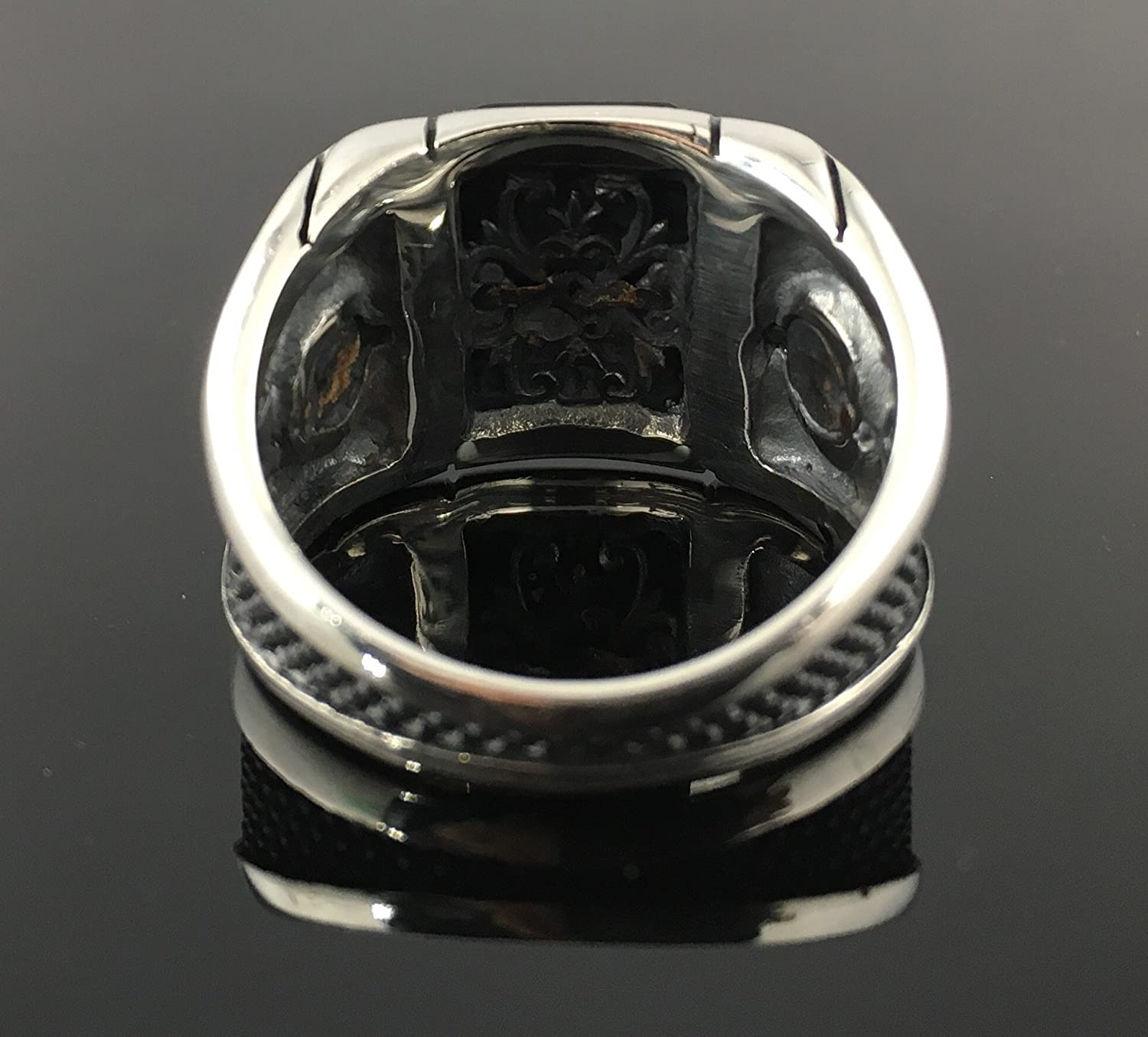 KAR 925K Stamped Sterling Silver Black Onyx Mens Ring K6F