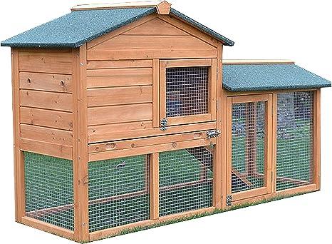 FeelGoodUK Conejito Casa Conejera Guinea Pig Pen Jaula con Construido en Ejecutar - Bunny House Golden