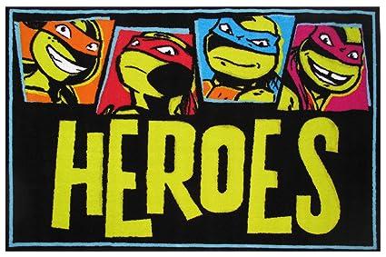 amazon com fun rugs teenage mutant ninja turtles area rug heroes