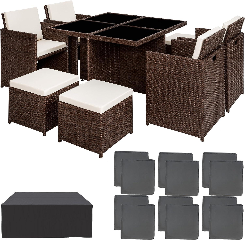 TecTake Ensemble Salon de jardin en Aluminium Résine Tressée Poly Rotin  Table Set 177+17+177 + Housse de Protection  Vis en Acier Inoxydable  avec  deux