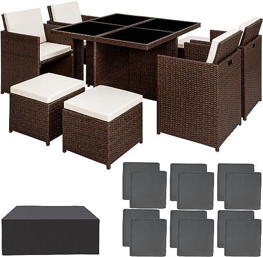 TecTake Conjunto muebles de jardín en aluminio y ratán sintético comedor juego 4+4+