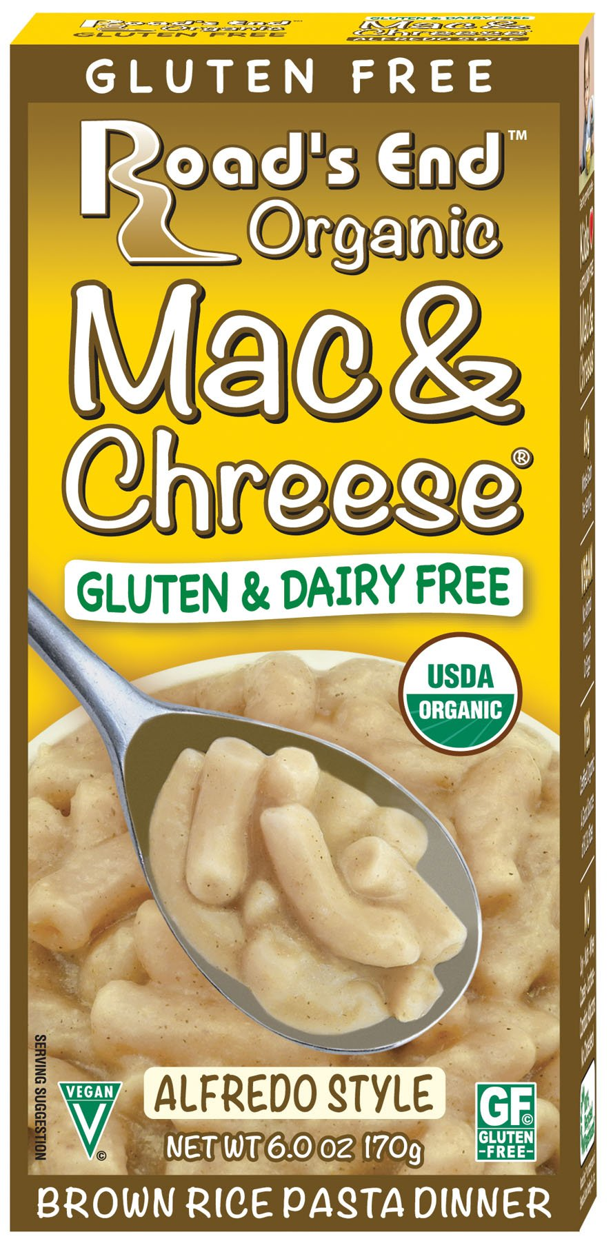 Road's End Organics Gluten Free Mac & Chreese Alfredo Style, Organic, 6-Ounce Boxes (Pack of 12) by Road's End Organics