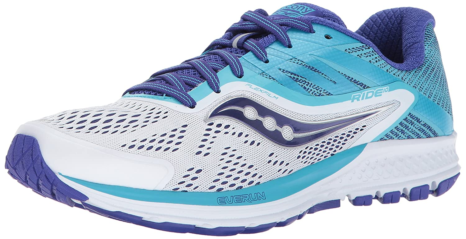 Saucony Women's Ride 10 Running-Shoes B01MY0YHZ9 9.5 W US|White Blue