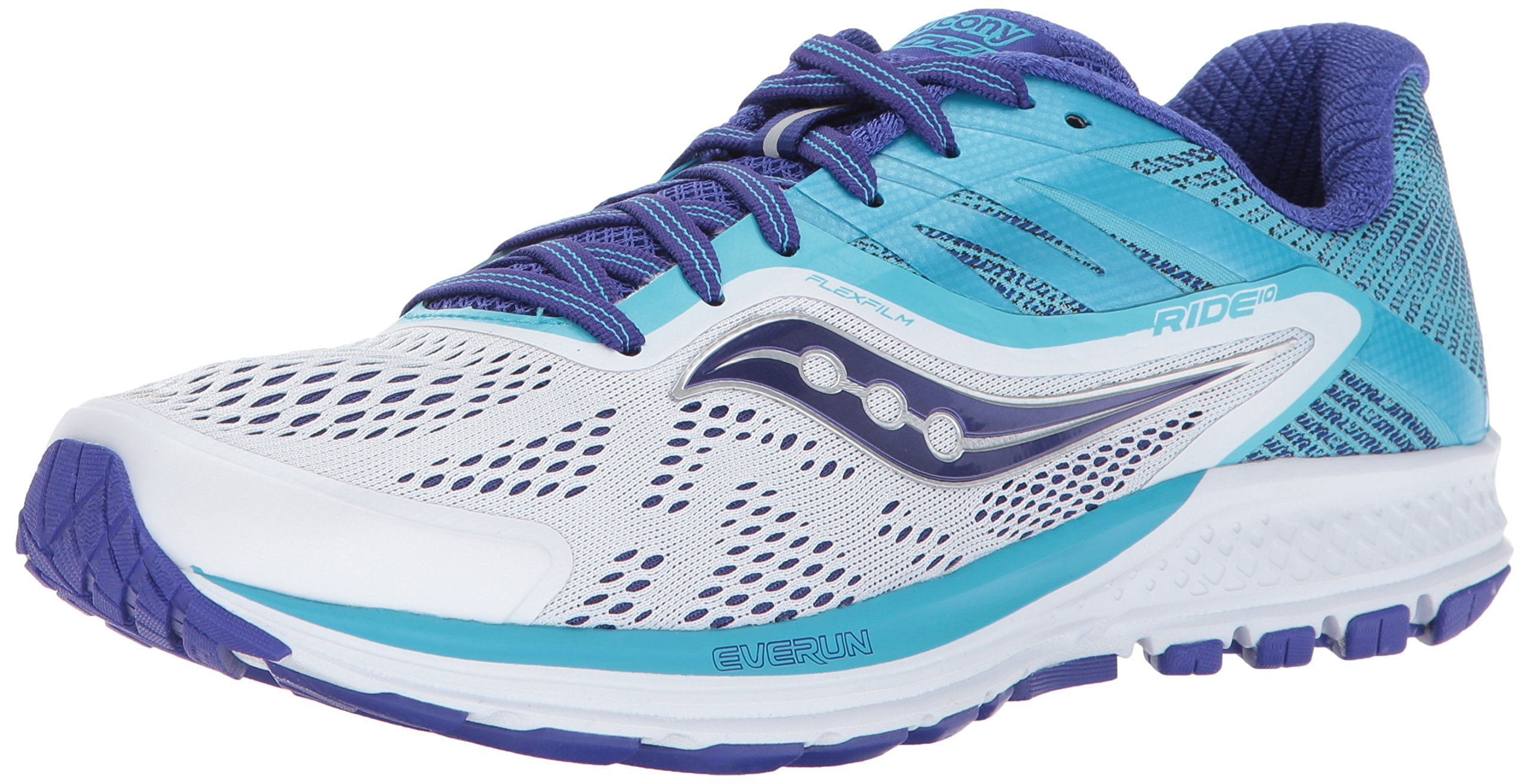 Saucony Women's Ride 10 Running Shoe, White Blue, 8 Wide US
