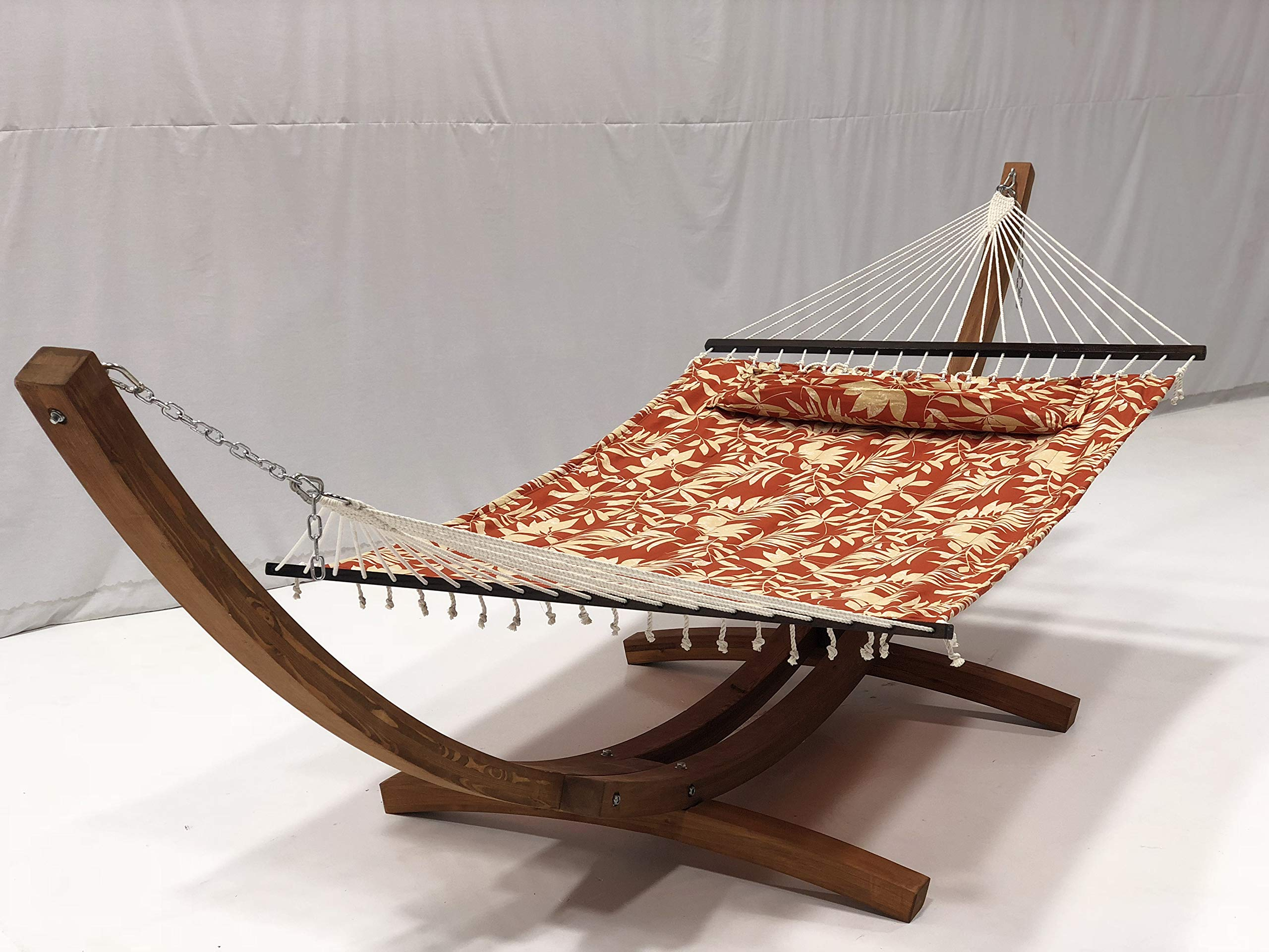 Petra Leisure 14 Ft. Wooden Arc Hammock Stand + Deluxe Quilted Double Padded Hammock Bed w/Pillow. 2 Person Bed. 450 LB Capacity(Teak Stain/Elegant Floral)