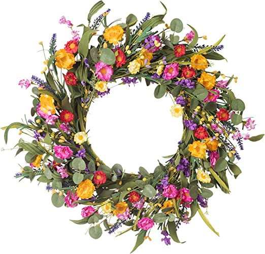 """Suitable for Front Door Indoor Wall Window Decor and Festival Celebration Artificial Flower Wreath,20/"""" Violet Daisy Wreath Blue White Flower Wreath Spring//Summer Wreath"""