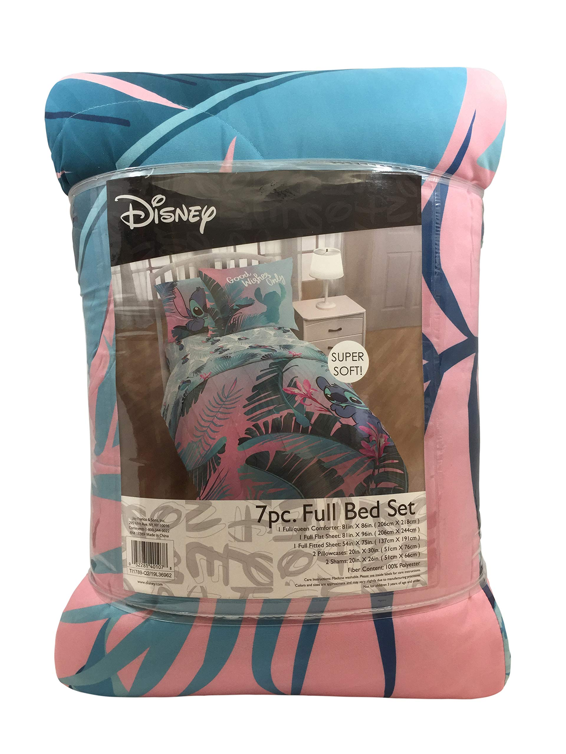 Jay Franco Disney Lilo & Stitch Floral Fun 7 Piece Full Bed Set - Includes Reversible Comforter & Sheet Set Bedding - Super Soft Fade Resistant Microfiber - (Official Disney Product) by Jay Franco (Image #2)