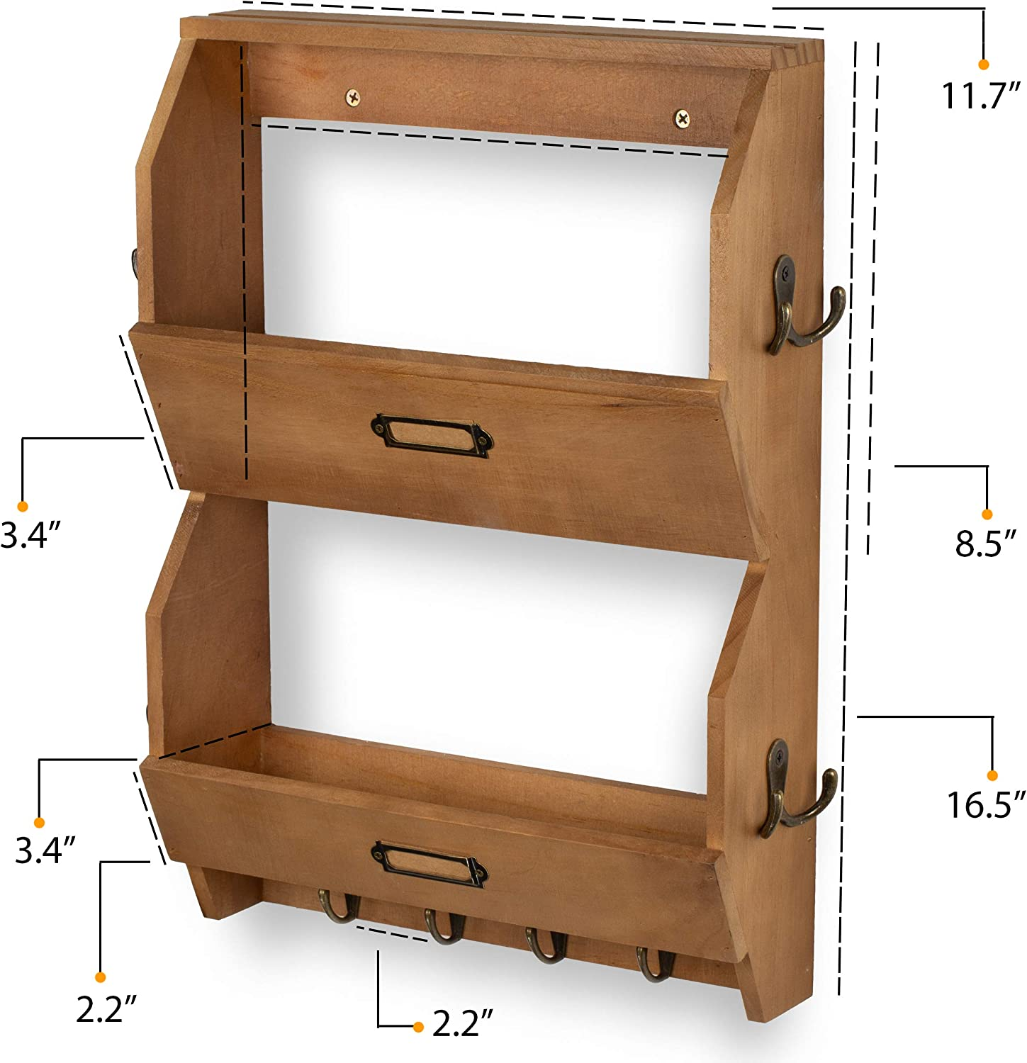 Wallniture Entryway D/écor Mail Holder Shelf Coat Rack with 12 Hooks Wood Walnut 12 Inches Long