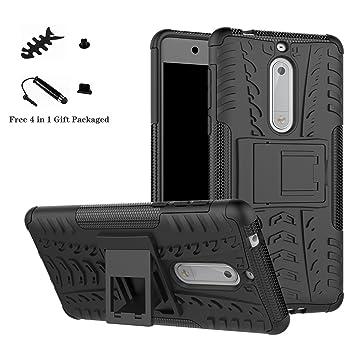 LiuShan Nokia 5 Funda, Heavy Duty Silicona Híbrida Rugged Armor ...