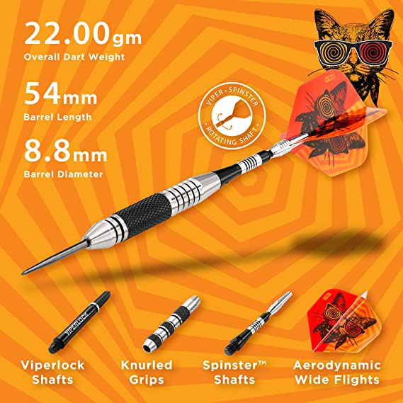 Amazon Com Viper The Freak Steel Tip Darts Extended Band 22 Grams Dart Board Sports Outdoors