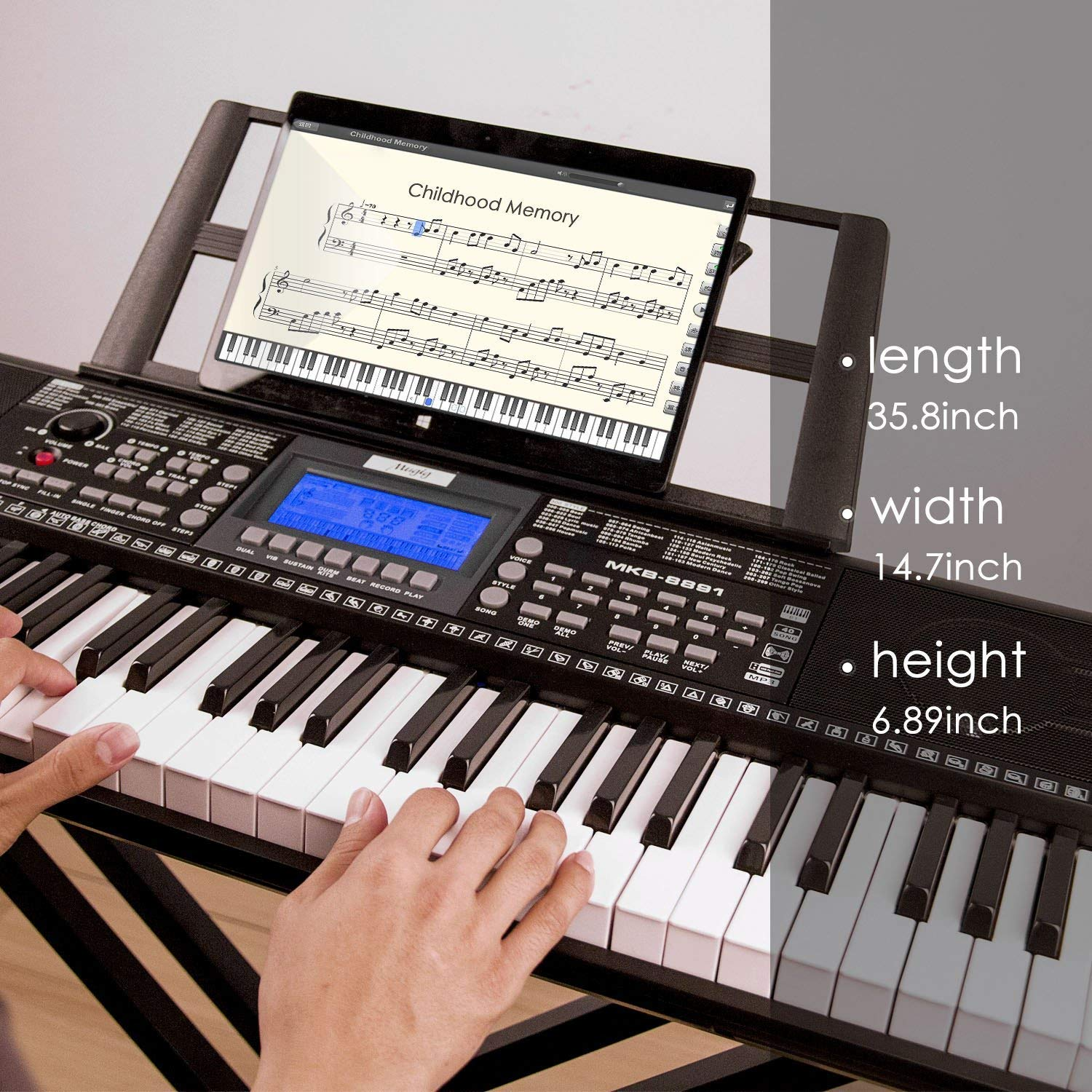 Keyboard Piano, Mugig 61-key Portable Electric Keyboard Piano with Sheet Music Stand, 3 Intelligent Education Teaching Mode, Dual Power Supply&USB Port (Kids & Adults) by Mugig (Image #2)