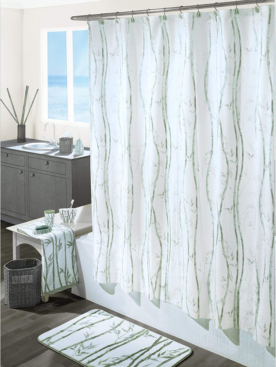 Excell Home Fashions 70-by-72-Inch Vinyl Shower Curtain, Green Bamboo