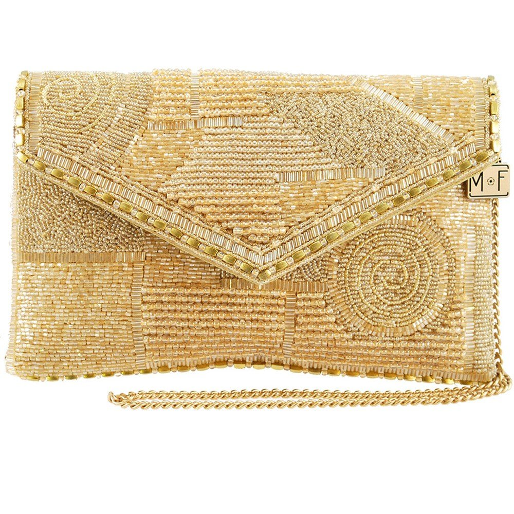 Mary Frances Victory, Gold Beaded Solid Pattern Crossbody Envelope Clutch