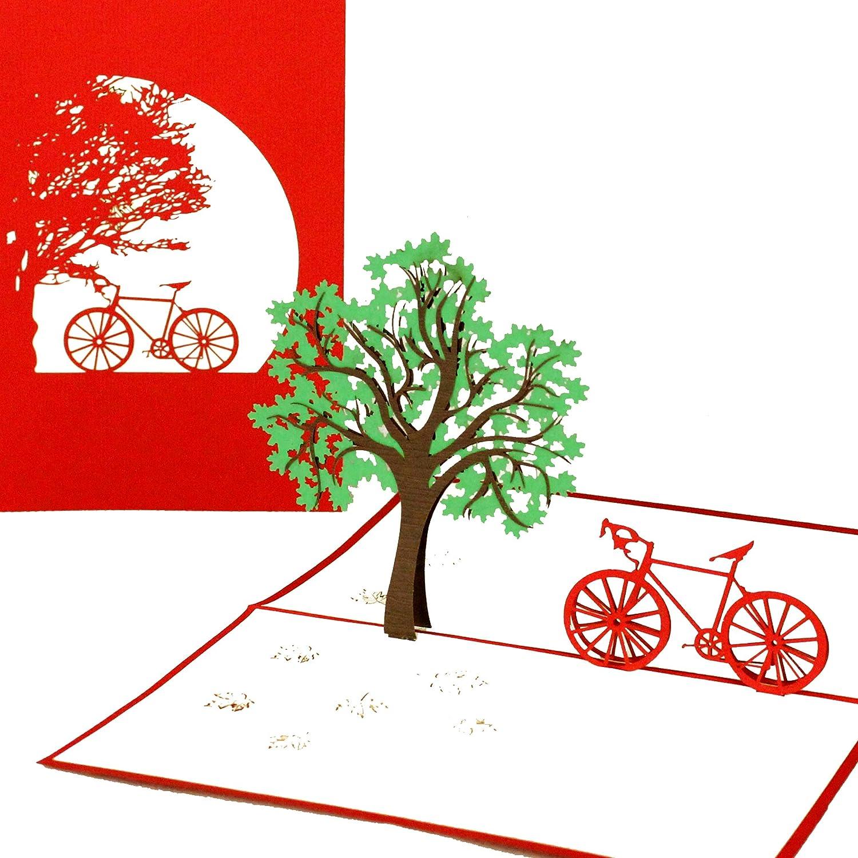 Geburtstagskarte Gutschein Fahrradkarte 3D Karte Pop Up KarteFahrradtour Einladung Fr/ühlingskarte Geschenkkarte Fahrrad Gutscheinkarte Einladungskarte