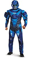 Disguise Men's Halo Blue Spartan Muscle Costume