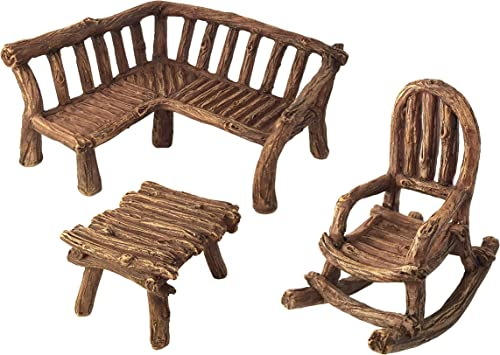 GlitZGlam Miniature Fairy Garden Furniture 3-Piece Rustic Wood Bench, Rocking Chair and Miniature Table for The Garden Fairies