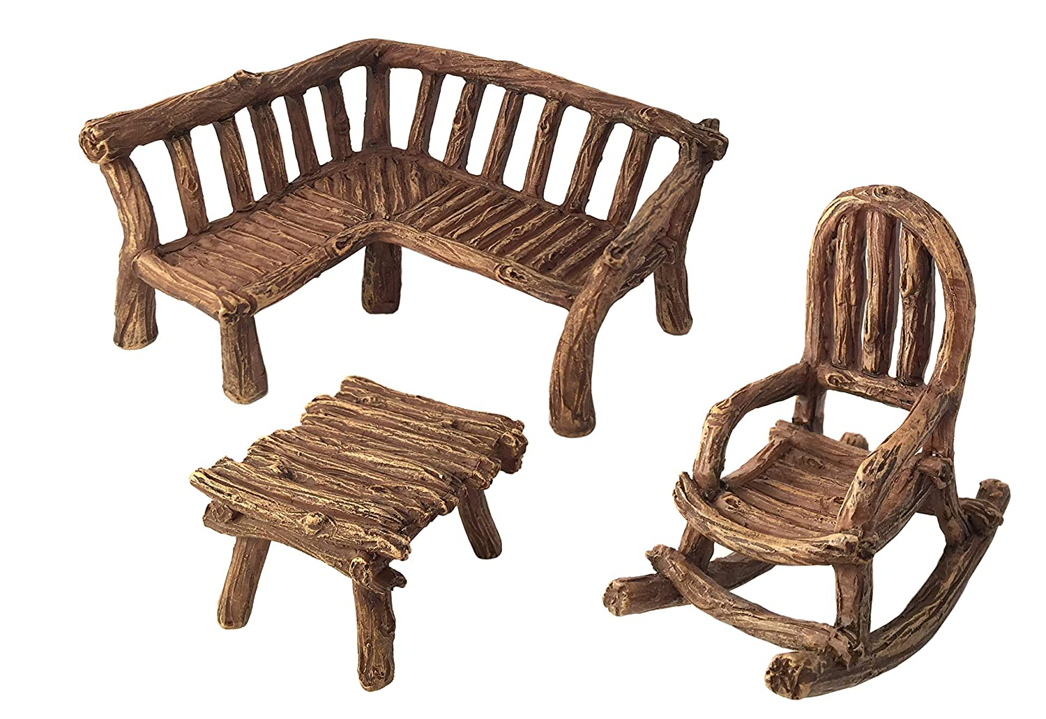 GlitZGlam Miniature Fairy Garden Furniture 3-Piece: Rustic Wood Bench, Rocking Chair and Miniature Table for The Garden Fairies