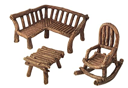 Fantastic Glitzglam Miniature Fairy Garden Furniture 3 Piece Rustic Wood Bench Rocking Chair And Miniature Table For The Garden Fairies Ibusinesslaw Wood Chair Design Ideas Ibusinesslaworg