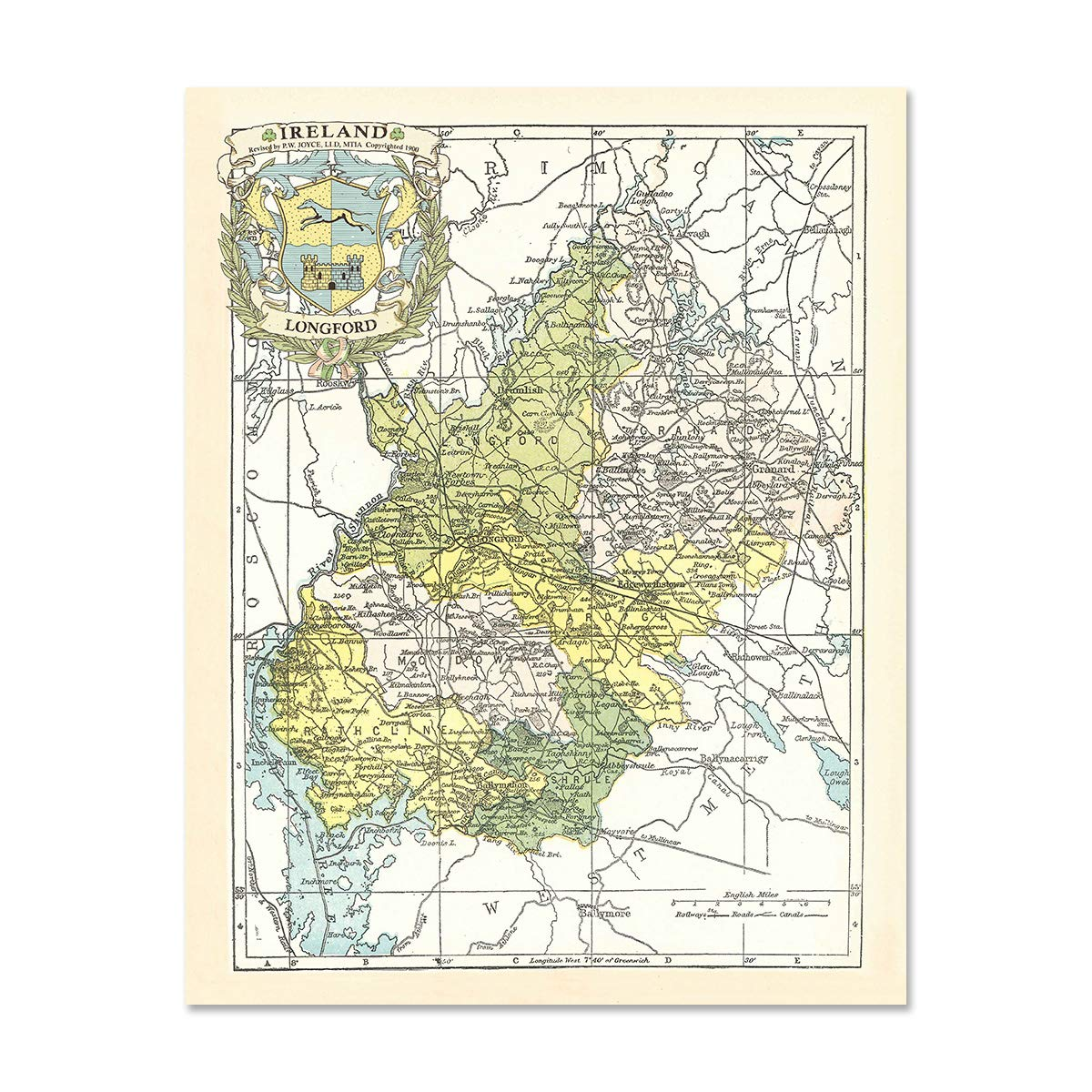 Map Of Ireland Longford.Historic Families Longford County Map Of Ireland Antique Reproduction Print