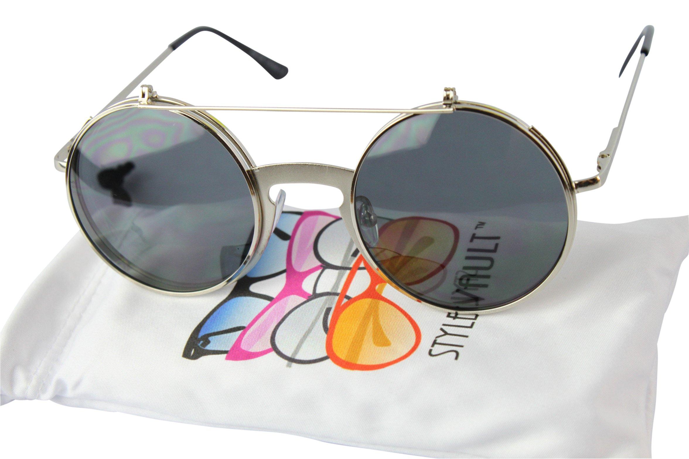 V135-vp Style Vault Round Flip up Django Steampunk Metal Sunglasses (C064 Silver, uv400)
