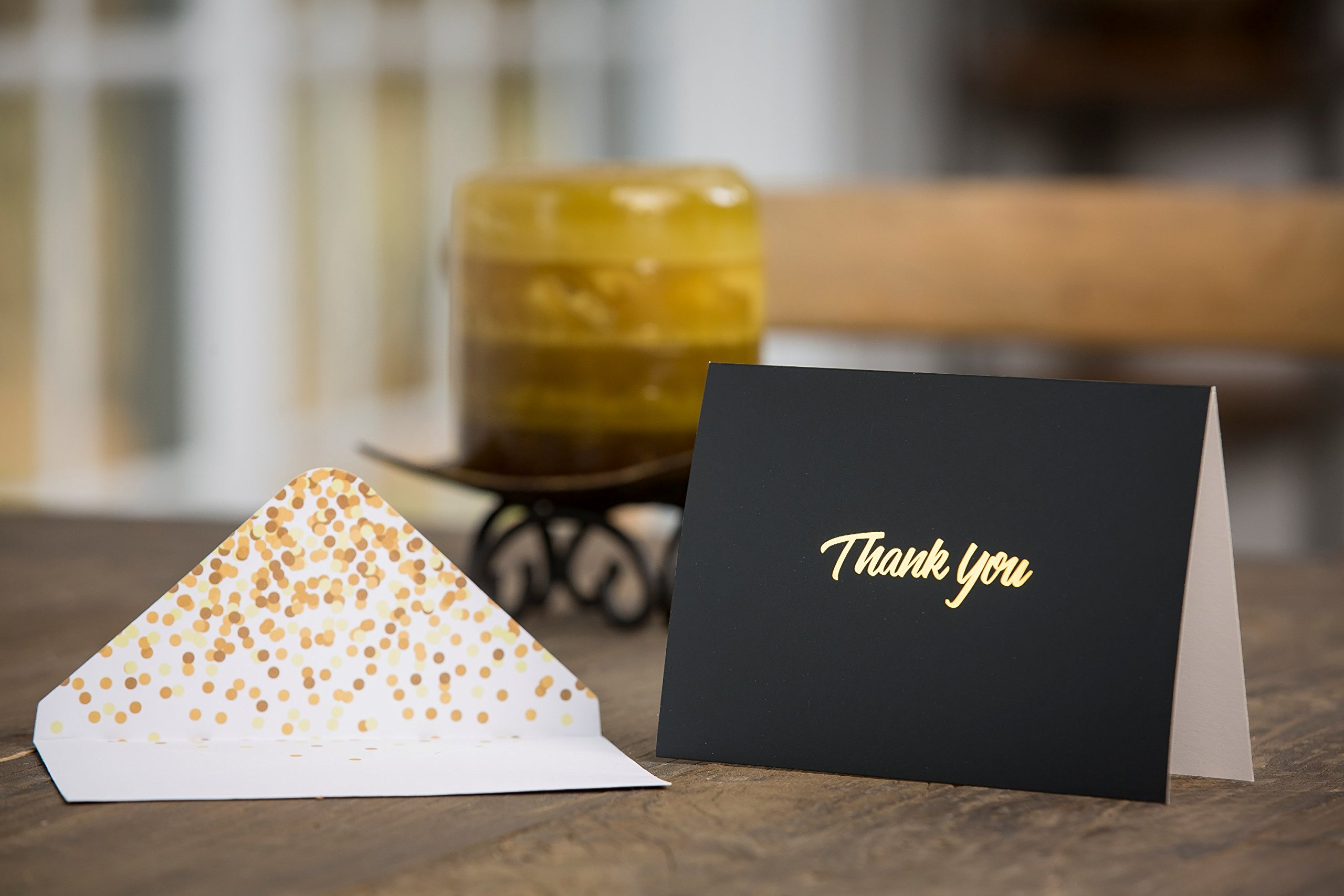 100 Thank You Cards with Envelopes - Thank You Notes, Black & Gold Foil - Blank Cards with Envelopes - For Business, Wedding, Graduation, Baby/Bridal Shower, Funeral, Professional Thank You Cards Bulk by FORTIVO (Image #7)