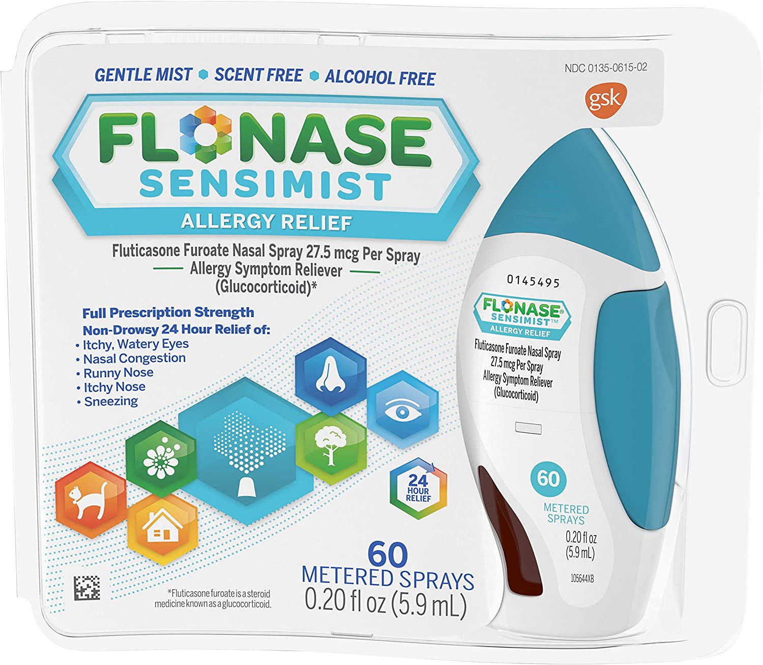 Flonase Sensimist Allergy Relief Nasal Spray, Allergy Medicine Scent-Free Alcohol-Free Gentle Mist 24 Hour Non-Drowsy, 60 sprays, 0.20 Fl Oz (Pack of 1)