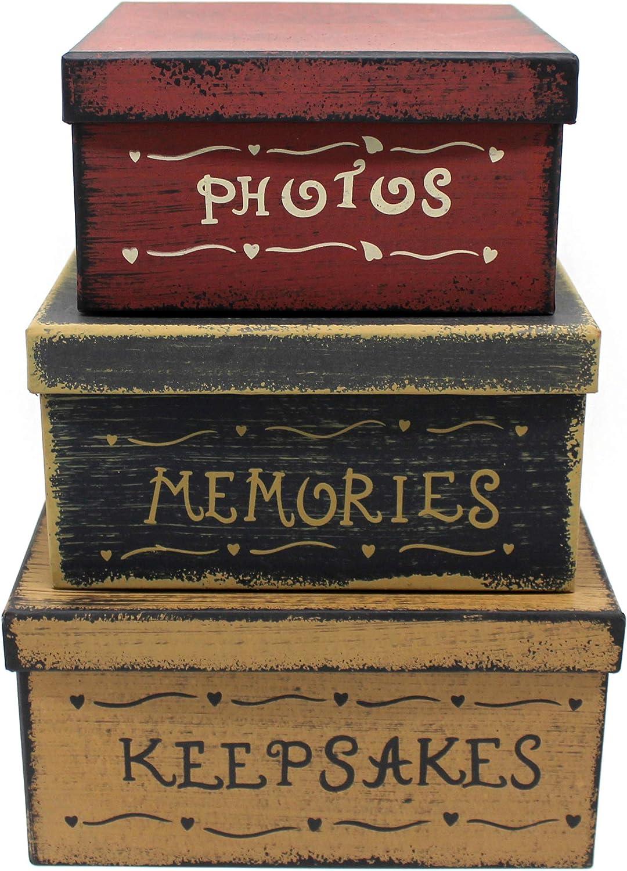 CVHOMEDECO. Primitiva Vintage Cuadrado Fotos, Recuerdos, Recuerdos Cajas apilables cartón, 22,9 x 22,9 x H11,4 cm & 2 0, 3X 20,3X H10,2 cm & 17,8 x1 7,8 x H8,9 cm, Juego de 3
