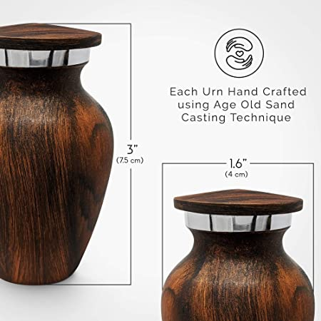 Small Keepsake Cremation Urn For Human Ashes With Wood Grain Finish Choose From 4 Unique Woodgrains Mini Metal Sharing Personal Funeral Urn For Pet Or Human Ashes Red Cherry Home