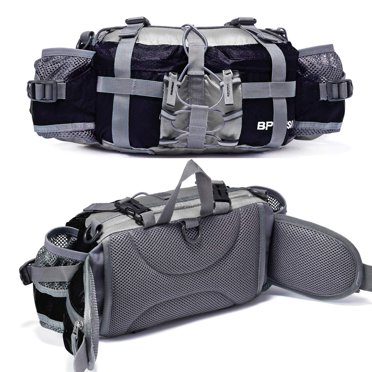 Bp Vision Outdoor Fanny Pack Hiking Camping Biking Waterproof Waist Pack 2 Water Bottle Holder Sports Bag for Women and Men Black by Bp Vision