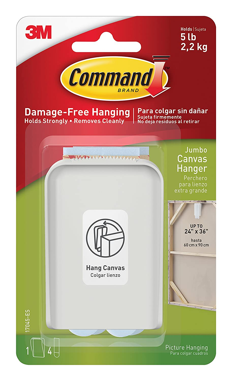 3M 390263 Command Jumbo Canvas Hanger White Hooks and 4 Strips, Acrylic, Multicoloured, 17045-ES