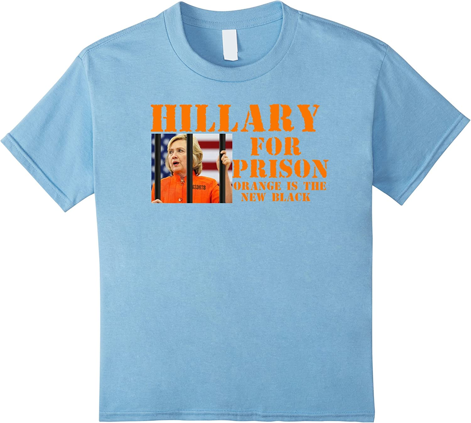 Kids Hillary Clinton For Prison Funny T Shirt 4 Baby Blue Amazon Co Uk Clothing