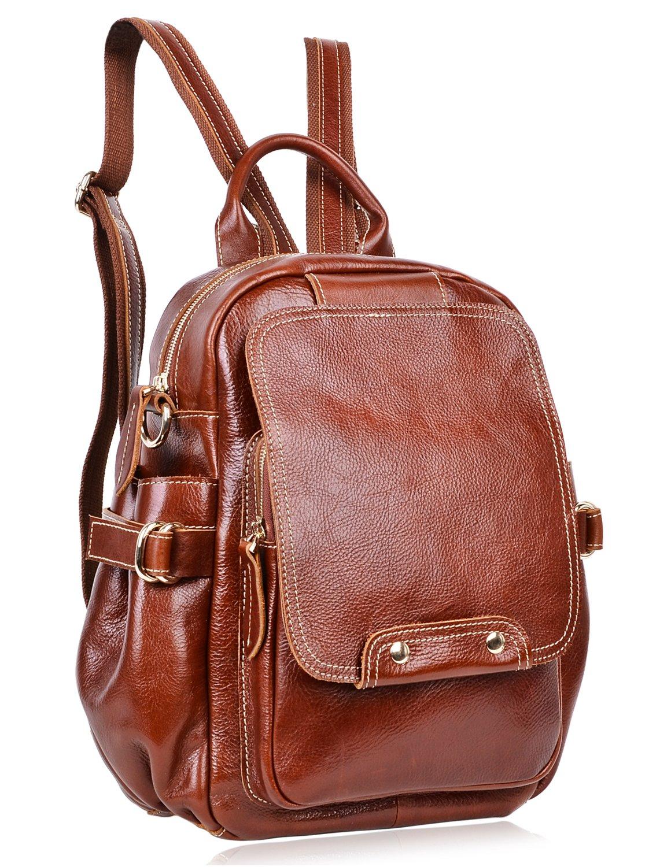 PIJUSHI Fashion Leather Backpack Unisex Large Casual Backpack 8812(One Size, Brown)