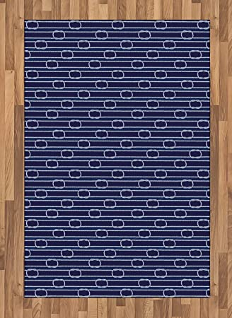 Amazon Com Ambesonne Navy Blue Area Rug Marine Inspired Rope