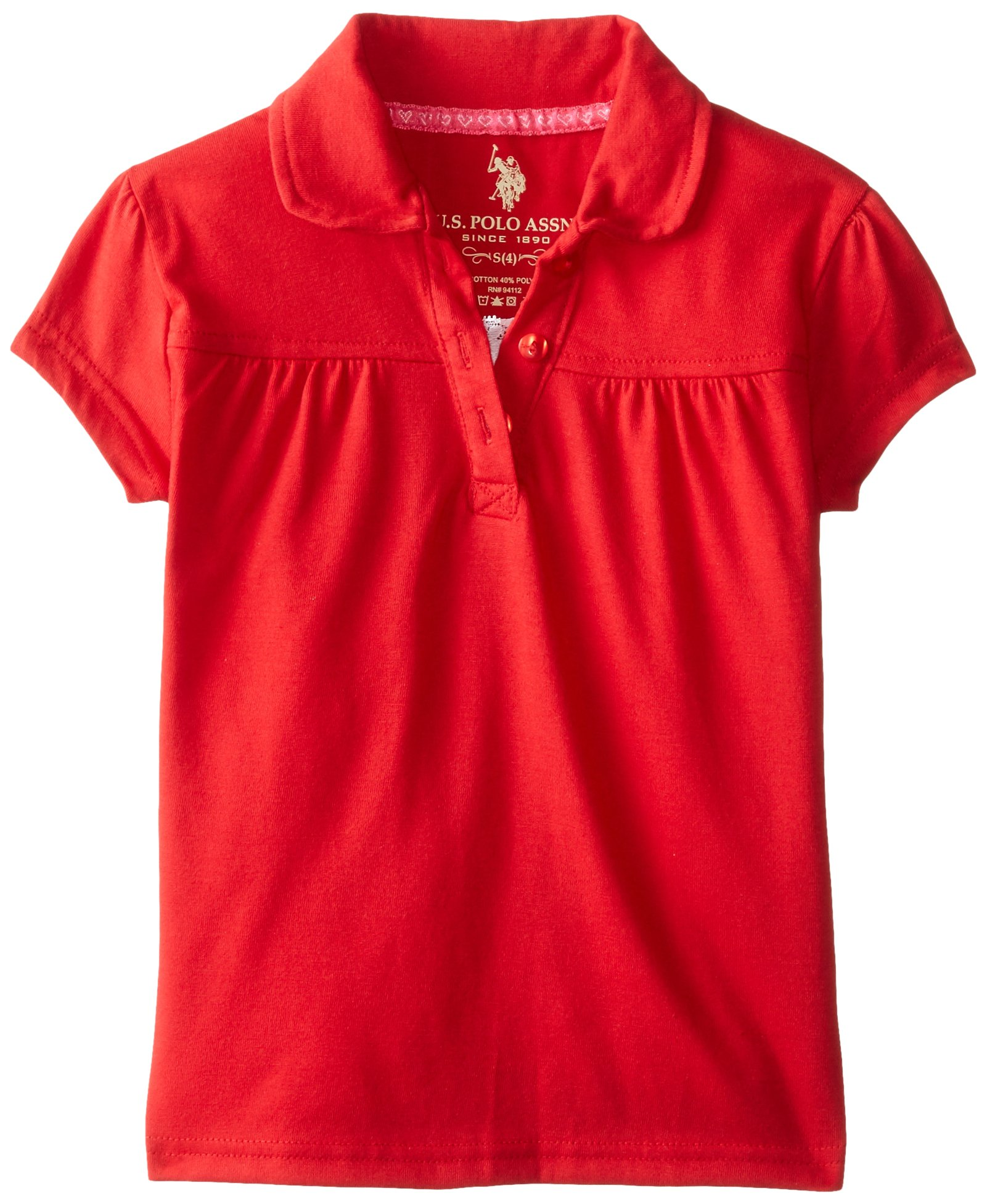U.S. Polo Assn. Little Girls' Polo Shirt (More Styles Available), Jersey Engine Red-IJTCG, 5/6 by U.S. Polo Assn. (Image #1)