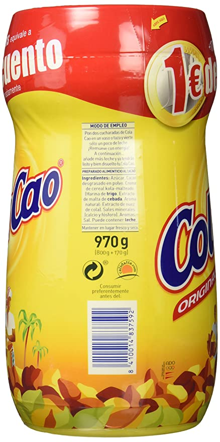 ColaCao - Original - Cacao Soluble - 800 g + 170g - [Pack de 2]: Amazon.es: Alimentación y bebidas