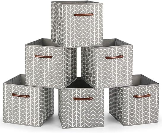 MaidMAX Cajas de Almacenaje Decorativas, Cubos de Almacenamiento Plegables con Mango de Madera, Set de 6 Cajas Organizadoras para Guardar Ropa, Juguetes, 26,7 x 26,7 x 27,9 cm: Amazon.es: Hogar