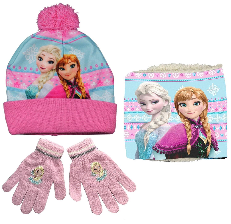 Disney Frozen HAT Snood & Gloves Set - Anna & Elsa
