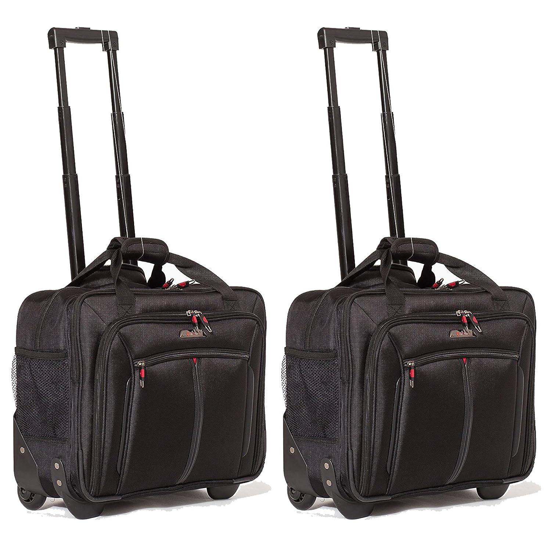 "Aerolite 17"" Executive Cabin Luggage Business Bag Laptop Bag with Wheels – Approved for Ryanair, Easyjet, BA & Jet2, Black (Black)"