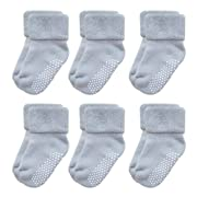 VWU Baby Socks with Grips Thick Cotton Socks for Toddler Infant Baby Girl Baby Boy 0-3 Years Old 5 Color (3-12 months, Grey(6-pack))