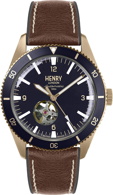 Henry London Reloj Esqueleto para Hombre de Automático con Correa en Silicona HL42-AS-0334