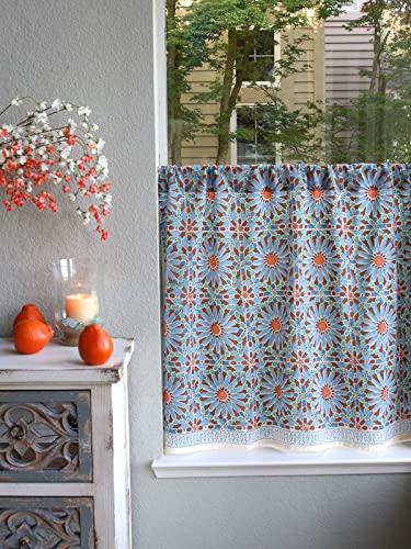 Saffron Marigold Mosaique Bleue Blue, Green, and Orange Moroccan Tile Inspired Hand Printed Sheer Cotton Voile Kitchen Curtain Panel Rod Pocket 46 x 36