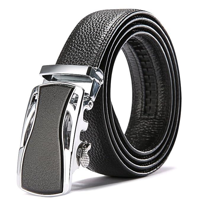 Para hombre automático extraíble hebilla cinturón de piel plena flor longitud ajustable Business Casual correa de cintura, traje 30