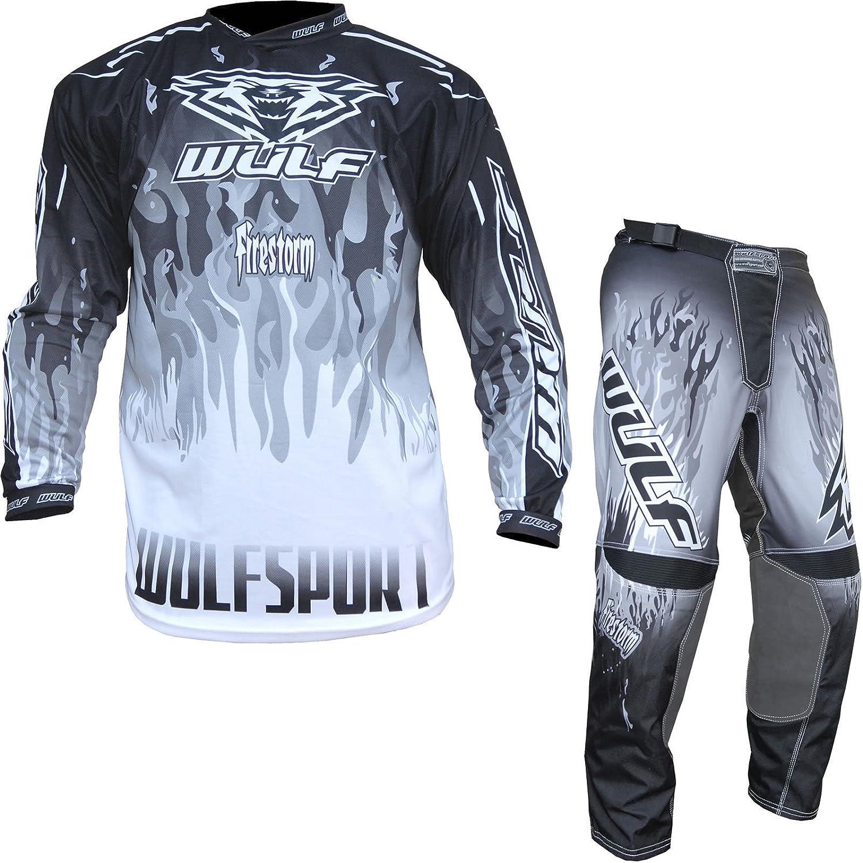 Wulf Firestorm Adulti Tuta Moto Pantaloni e Jersey Motocross Scooter Enduro Sci Tuta da Ginnastica WULFSPORT