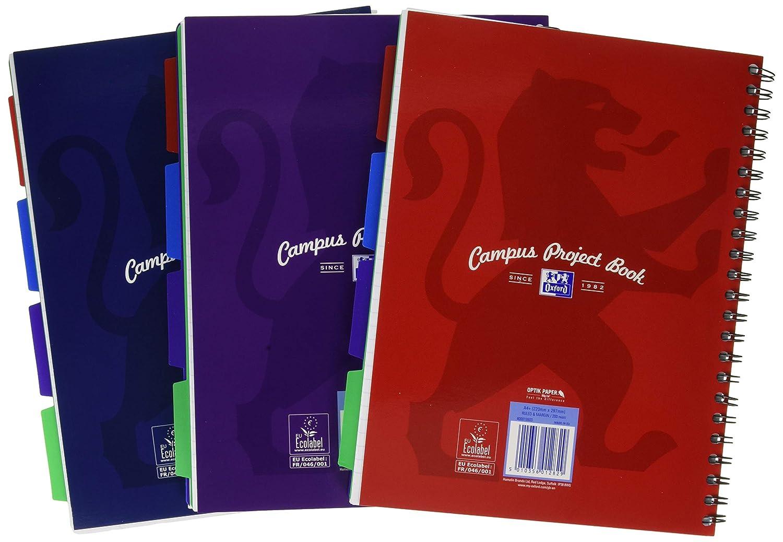 Oxford Campus Project Book Paquete de 3 cuadernos de anillas multicolor A4, 200 p/áginas